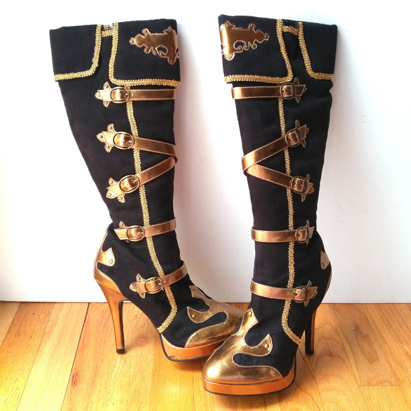 307da308098 NEW Sexy Knee High Heel Buckle Boots Pirate NWT